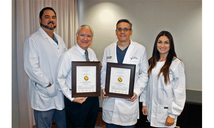 Cesar Guerra, Director of Surgery; Javier Iruegas, Chief Executive Officer; Jose Marina, DO, Chief of Surgery and Director of The Joint Replacement Institute; and Veronica Olivarez, Manager of Surgery